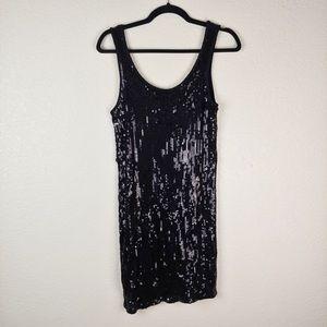Kenzie Black Sequin Bodycon Mini Dress Size S